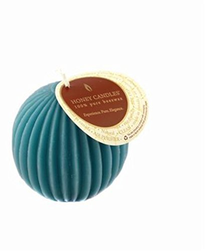 Fluted Pillar Candle - Honey Candles Ornamentals - Fluted Sphere - Glacier Teal