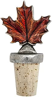 product image for DANFORTH - Maple Leaf (Autumn) Bottle Stopper - Pewter - Natural Cork - Handcrafted - Made in USA