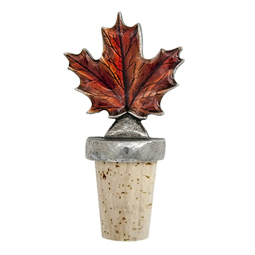 Natural Stopper Bottle Pewter Wine - DANFORTH - Maple Leaf (Autumn) Bottle Stopper - Pewter - Natural Cork - Handcrafted - Made in USA