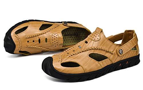 10 5 Brown Colore chiusa sandali Khaki genuini fuori Scava Traspirante Uomo Brown di i Fuxitoggo EU Nero UK5 Punta Dimensione Cachi 45 cuoio 7pagxZ