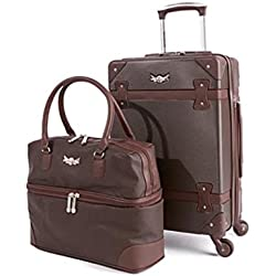 "Destinations Luggage 21"" Hardside Spinner and Satchel 2-piece Set ~ Brown"