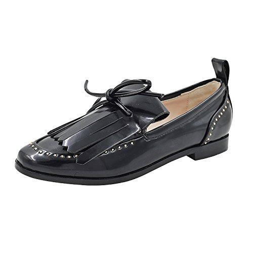 Solo cuero zapatos su en pearl retro único pie Negro 38 remache pequeña pie puso Fu zapatos cómodos zapatos el muelle Pearl zapatos de de Lok rrPqwC