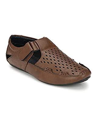SHOE DAY Men's Artificial Leather Roman Sandal Brown