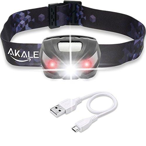 LED Stirnlampe, Akale Wiederaufladbare LED Kopflampe Sehr hell, wasserdicht, leicht und bequem, Perfekt fürs Joggen, Gehen, Campen, Lesen, Laufen, für Kinder und mehr, inklusive USB Kabel