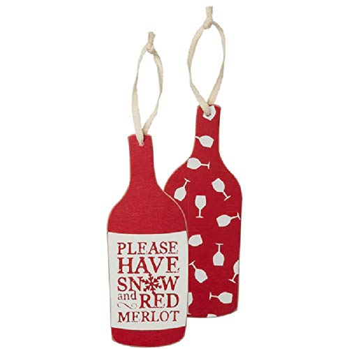 Three Girls & A Wish Set of 2 Christmas Seasonal Holiday Quotes Wooden Collectible Ornaments - Please Have Snow and Red Merlot (Christmas Quotes Best Of)