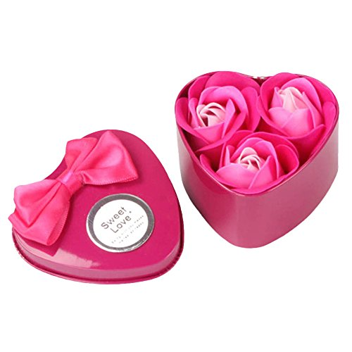Hot Sale!DEESEE(TM)3Pcs Heart Scented Bath Body Petal Rose Flower Soap Wedding Decoration Gift Best (Hot Pink)