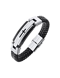 Mens Leather Bracelet, Black Leather Braided Stainless Steel Cross Wrist Band Bangle Bracelet Cuff Links 8.6''