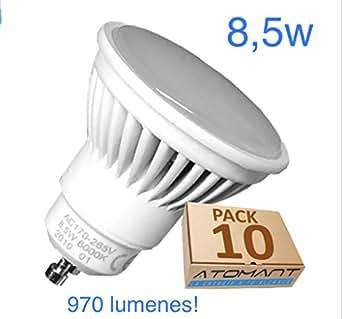(LA) NOVEDAD 10x GU10 LED 8,5w Potentisima! Halogeno LED 970 lumenes