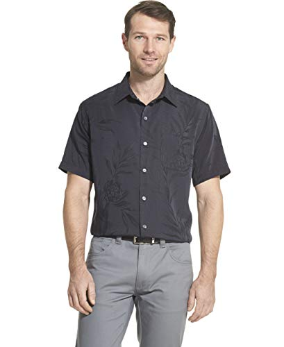 Van Heusen Men's Air Tropical Short Sleeve Button Down Poly Rayon Shirt, Legacy Black, X-Large