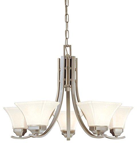 Minka Lavery 1815-84, Agilis Glass 1 Tier Chandelier Lighting, 5 Light, 500 Total Watts, Nickel
