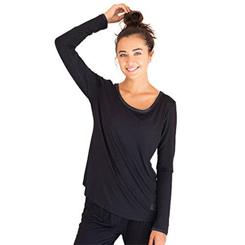 Faceplant Dreams Dreamwear Bamboo Long Sleeve Shirt (Medium, Black)