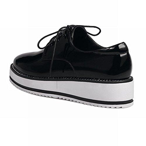 Charm Foot Womens Comfort Lace Up Wedge Platform Oxfords Shoes Black kZBQFX
