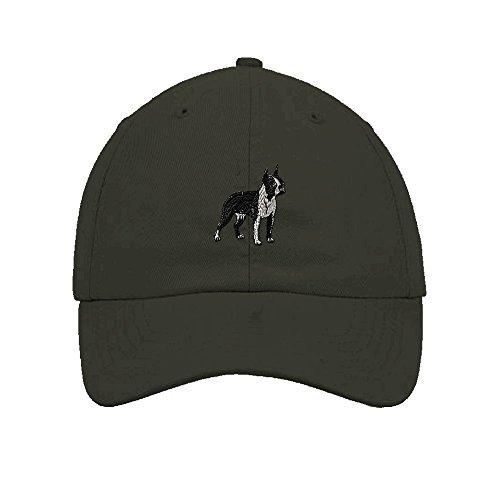 Closure 6 Panel Caps (Speedy Pros Boston Terrier Dog Embroidery Twill Cotton 6 Panel Low Profile Hat Dark Grey)