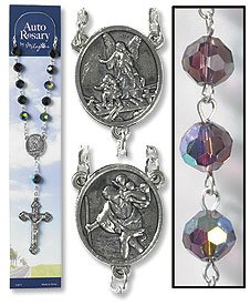 Amethyst Auto Rosary mm Crystal AB Bead/Silver Plate L with Clasp,. Crucifix, Pack of 3 ()