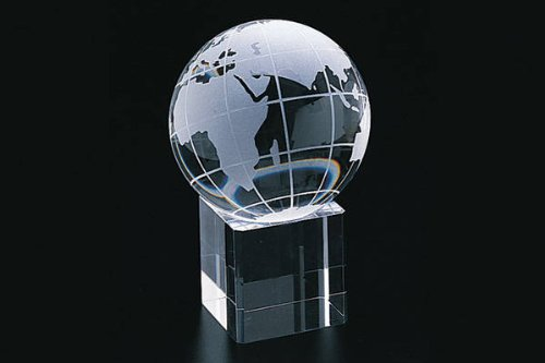 StealStreet SS-CQG-95520 95520 80 mm Etched Crystal World Globe on Square Shaped Base, Clear