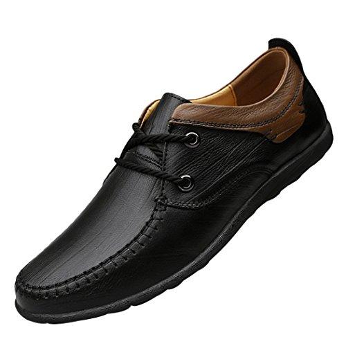 Søn Lorence Mens Fashion Fleksible Oxford Tilfeldige Lisse-up Lær Myke Pustende Loafer Sko Flats Svart
