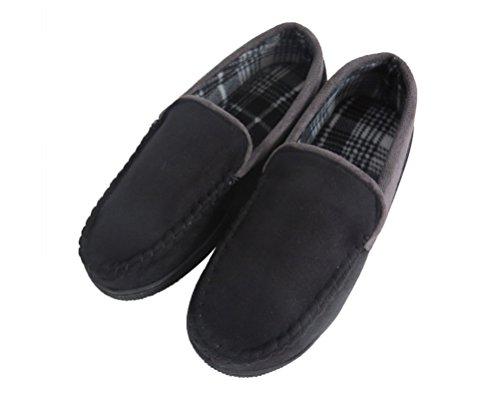 mens-pile-lined-microsuede-indoor-outdoor-slip-on-moccasin-slippers-us-13-black-fba
