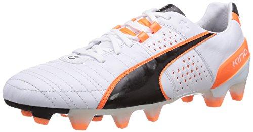 Puma King II FG Herren Fußballschuhe Weiß (white-black-fluo flash orange 02)