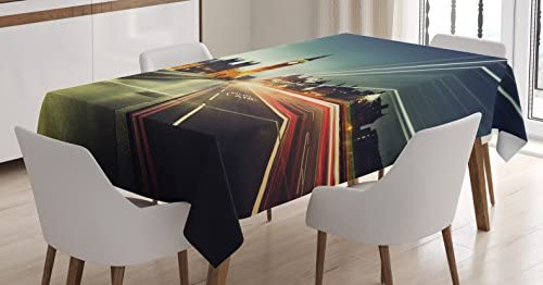 b9250a43e3 Amazon.com: Ambesonne London England Tablecloth, Big Ben from Westminster  Bridge Evening Picture, Dining Room Kitchen Rectangular Table Cover, ...