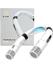 BLAUX Wearable AC Plus - Rechargeable Portable Neck Fan | 3 Speed Hands Free Fan with Air Ionizer | Personal Fan for Your Neck | Bladeless Neck Fan with Flex Joints | Headphone Fan Design