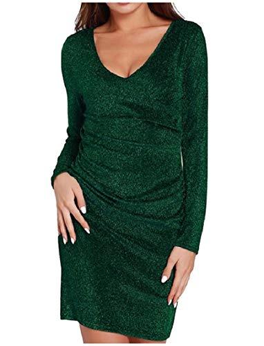 Energy Women's V-Neck Bodycon Drape Up Long Sleeve Party Bodycon Dress XS...