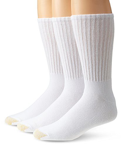 Gold Toe Men's Big and Tall Ultra Tec Crew Sock Three-Pack, White, Shoe 12-16 Size 13-15