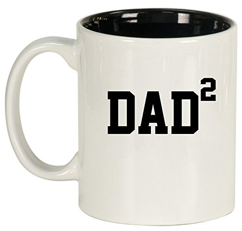 Ceramic Coffee Tea Mug Cup DAD x2 Squared Father Of 2 (White)