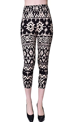 VIV Collection Regular Size Printed Brushed Capris (Pattern Diamonds) ()