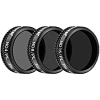 Neewer 3 Pieces Pro Lens Filter Kit for DJI Mavic Air Drone Quadcopter Includes: ND4/PL, ND8/PL, ND16/PL Filters, Made of Multi Coated Waterproof Aluminum Alloy Frame Optical Glass(Black)