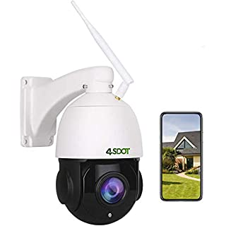 Outdoor PTZ IP Camera, 4SDOT 1080P Pan Tilt 18X Optical Zoom Dome Camera, IP66 Waterproof 196ft Night Vision WiFi Security Camera, Two-Way Audio Motion Detection PTZ Camera Support 128G SD Card