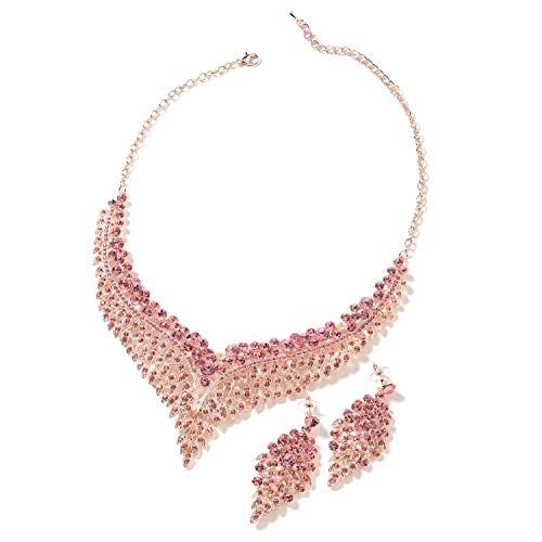 (Bridal Crystal Earrings Statement Bib Necklace Jewelry Gift Set for Women 20