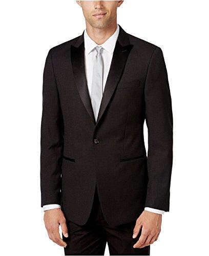 Calvin Klein Men's Slim-Fit Houndstooth Evening Jacket (36 Short, Black) by Calvin Klein
