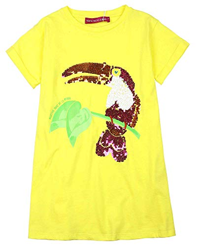 (Agatha Ruiz De La Prada Girl's T-Shirt Dress with Parrot, Sizes 4-12 (10) Yellow)