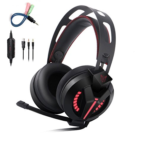 41TE5rUFvGL - Xbox One Headset, Onikuma W Series PS4 Headset, Gaming Headset with LED light and Microphone for Xbox, PS4, PC Computer, Laptop, Tablet, Smartphone and Other 3.5MM Jack Devices