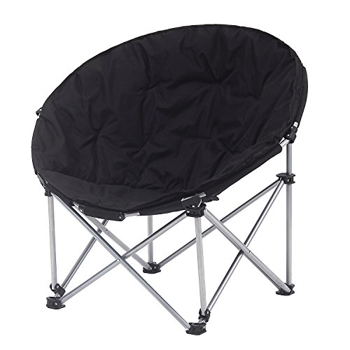 Camp Solutions Moon Saucer Camping Chair Steel Frame Folding Padded Round Portable Stable With Carry Bag