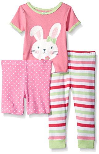 Little Me Toddler Girls' 3 Piece Short Sleeve Cotton Pajama Set, Pink/Multi, 3T