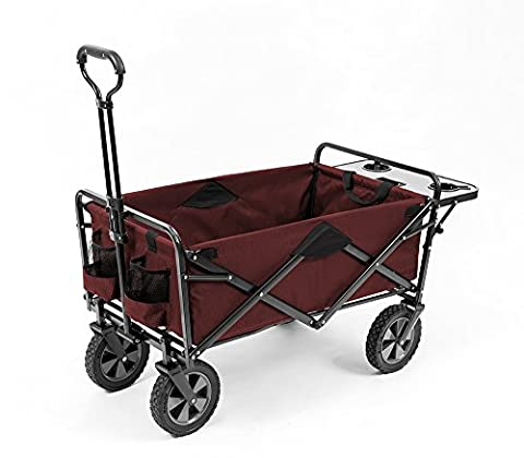 Mac Sports Collapsible Outdoor Utility Wagon with Folding Table and Drink Holders, Maroon - Sports And Outdoors