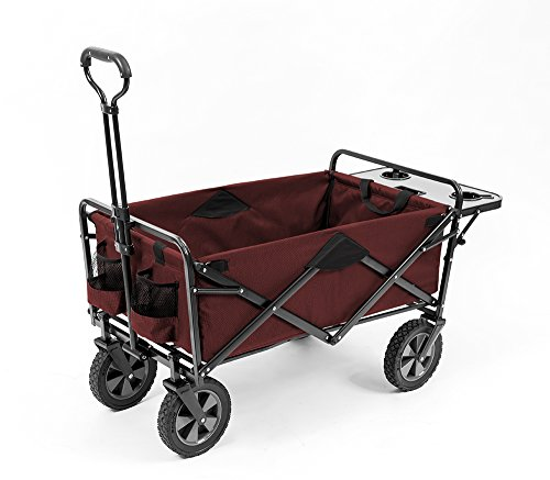 (Mac Sports Collapsible Outdoor Utility Wagon with Folding Table and Drink Holders, Maroon)