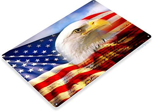 Tinworld Tin Sign Eagle Flag Bald Patriotic American Flag Stars Stripes Metal Sign Decor A348