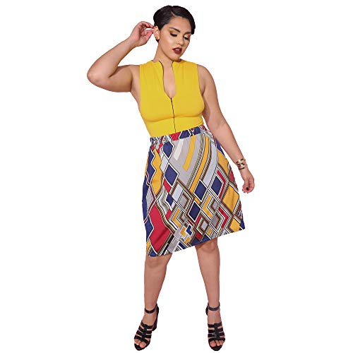Womens Cocktail A-Line Abstract Print Mini Skirt with Zipper - Plus Sizes (Yellow, 3X)