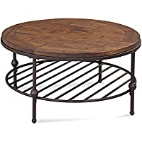Round Cocktail Table in Rustic Barn Side Finish