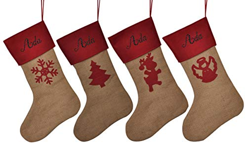 HUAN XUN Customized Name Personalized Christmas Stockings Ada Best Gifts Bags Fireplace Decor for Home Familys