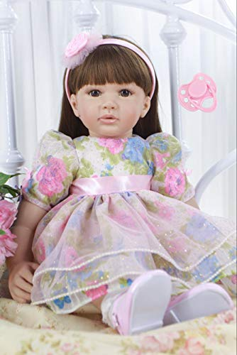 NPK collection Lifelike 60cm Silicone Reborn Baby Doll 24inch Vinyl Beautiful Toddler Princess Girl Cloth Body Lovely Birthday Gift Play House Toy