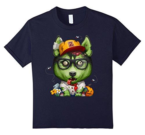 Siberian Husky Costume Ideas (Kids Siberian Husky Zombie Halloween T-Shirt 12 Navy)