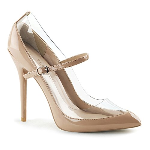 Womens Nude Color Shoes Pointed Toe Pumps Mary Jane High Heels 5 Inch Heels Size: 11