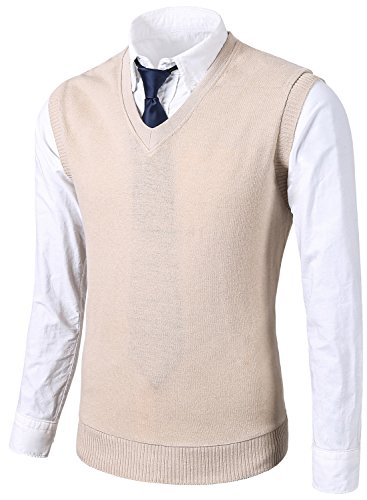 MIEDEON Mens Various Color Casual Slim Fit Knit Vest sweater