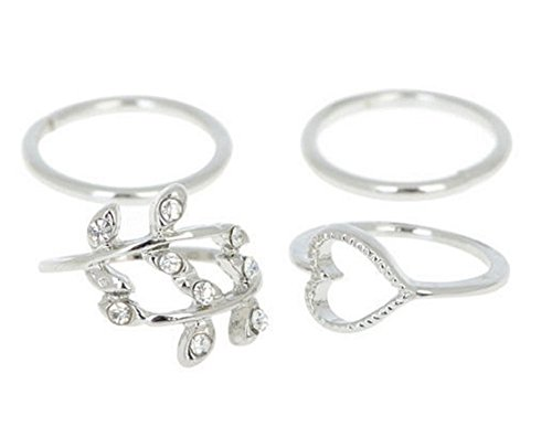 1Set (4PCS) Above Knuckle Finger Rings-Fashion Leaf/Heart Shaped Midi Tail Ring (Silver) (Stackable Ring Bling Silver)