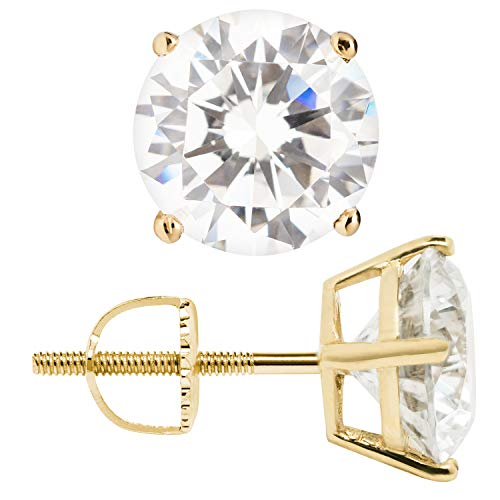 14K Solid Yellow Gold Stud Earrings | Round Cut Cubic Zirconia | Screw Back Posts | 3.34 CTW | With Gift Box ()