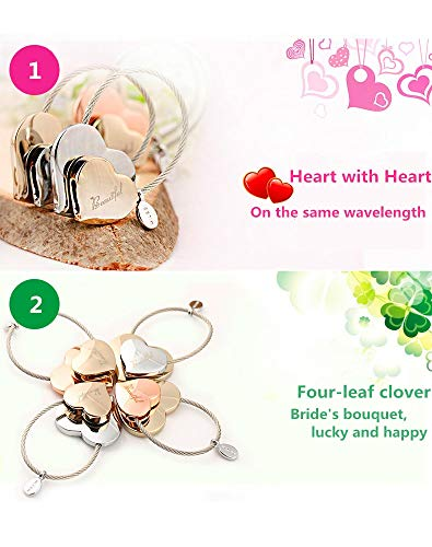 MILESI Heart to Heart Metal Keychain of Love for Women Sweet Couples Gift (Rose gold-light gold) by MILESI (Image #2)