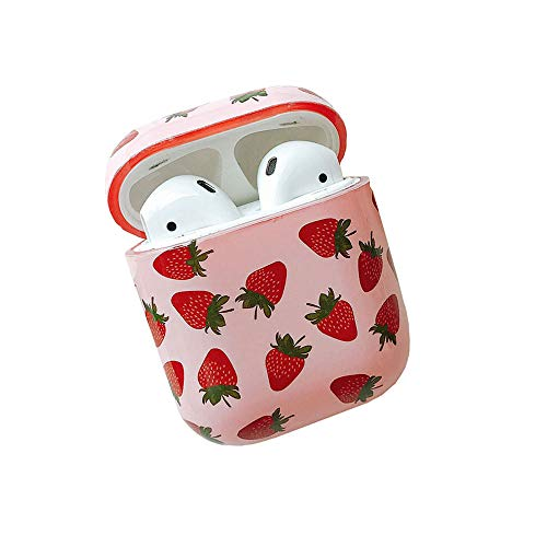 - ICI-Rencontrer Super Creative Fresh Fruit Pattern Airpods Case Portable AirPods Accessories Hard PC Plastic Anti-Scratch Shockproof Protective Case Strawberry